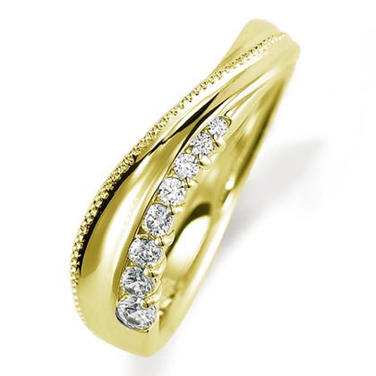 ペアリング(女性用) 結婚指輪 マリッジリング 結婚記念 K18イエローゴールド ダイヤモンドリング 《Nourish M0846L》 【刻印無料 ケース付き 送料無料】 【0420】