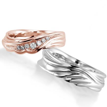 ペアリング(2本セット) 結婚指輪 マリッジリング 結婚記念 プラチナ900&K18ピンクゴールド ダイヤモンドリング 《Nourish M0982》 【刻印無料 ケース付き 送料無料】 【A】