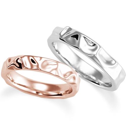 ペアリング(2本セット) 結婚指輪 マリッジリング 結婚記念 プラチナ900&K18ピンクゴールド 《Nourish M0966》 【刻印無料 ケース付き 送料無料】 【B】