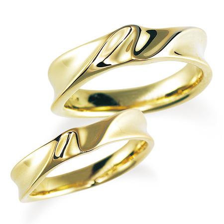 ペアリング(2本セット) 結婚指輪 マリッジリング 結婚記念 K18イエローゴールド 《Nourish M0980》 【刻印無料 ケース付き 送料無料】 【A】
