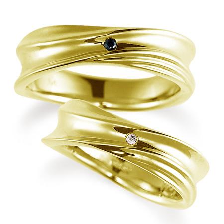 ペアリング(2本セット) 結婚指輪 マリッジリング 結婚記念 K18イエローゴールド ダイヤモンドリング 《Nourish M0979》 【刻印無料 ケース付き 送料無料】 【A】