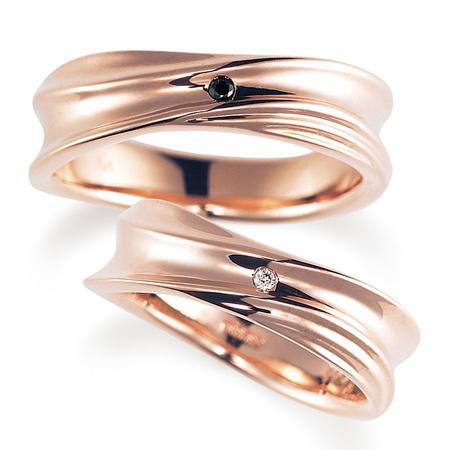 ペアリング(2本セット) 結婚指輪 マリッジリング 結婚記念 K18ピンクゴールド ダイヤモンドリング 《Nourish M0979》 【刻印無料 ケース付き 送料無料】 【A】