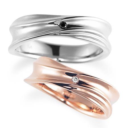 ペアリング(2本セット) 結婚指輪 マリッジリング 結婚記念 プラチナ900&K18ピンクゴールド ダイヤモンドリング 《Nourish M0979》 【刻印無料 ケース付き 送料無料】 【B】