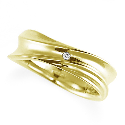 ペアリング(女性用) 結婚指輪 マリッジリング 結婚記念 K18イエローゴールド ダイヤモンドリング 《Nourish M0979L》 【刻印無料 ケース付き 送料無料】 【B】