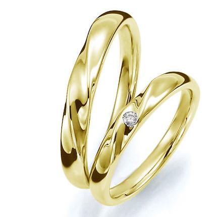 ペアリング(2本セット) 結婚指輪 マリッジリング 結婚記念 K18イエローゴールド 《Prime M0059》 ダイヤモンドリング ギフト 【刻印無料ケース付き 送料無料】 【A】