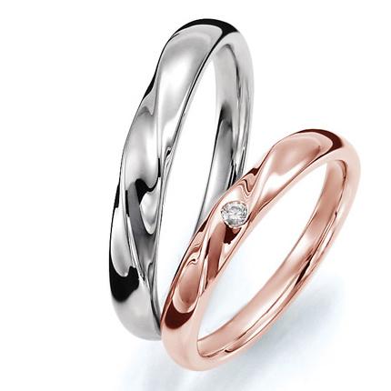 ペアリング(2本セット) 結婚指輪 マリッジリング 結婚記念 プラチナ900&K18ピンクゴールド 《Prime M0059》 ダイヤモンドリング ギフト 【刻印無料ケース付き 送料無料】 【A】