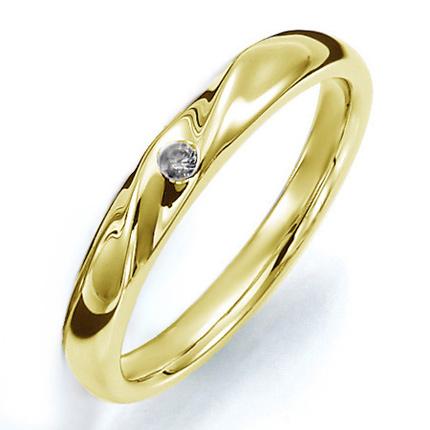 ペアリング(女性用) 結婚指輪 マリッジリング 結婚記念 K18イエローゴールド ダイヤモンドリング 《Prime M0059L》 【刻印無料 ケース付き 送料無料】 【A】