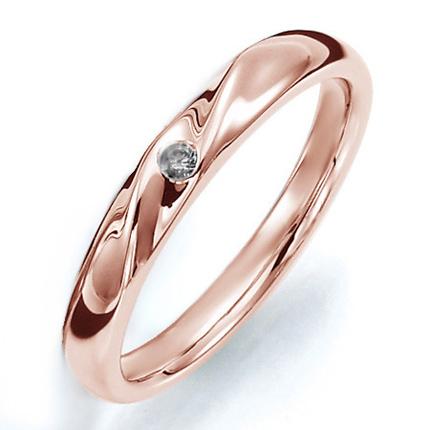 ペアリング(女性用) 結婚指輪 マリッジリング 結婚記念 K18ピンクゴールド ダイヤモンドリング 《Prime M0059L》 【刻印無料 ケース付き 送料無料】 【A】
