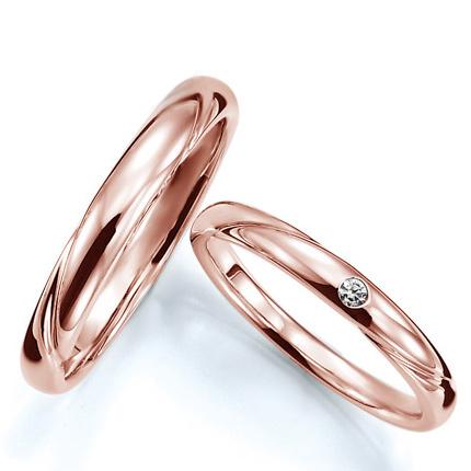 ペアリング(2本セット) 結婚指輪 マリッジリング 結婚記念 K18ピンクゴールド 《Prime M0280》 ダイヤモンドリング ギフト 【刻印無料 ケース付き 送料無料】 【0420】