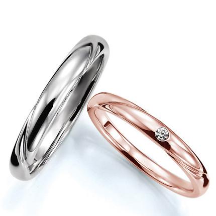 ペアリング(2本セット) 結婚指輪 マリッジリング 結婚記念 プラチナ900&K18ピンクゴールド 《Prime M0280》 ダイヤモンドリング ギフト 【刻印無料 ケース付き 送料無料】 【B】