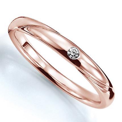 ペアリング(女性用) 結婚指輪 マリッジリング 結婚記念 K18ピンクゴールド ダイヤモンドリング 《Prime M0280L》 【刻印無料 ケース付き 送料無料】 【A】