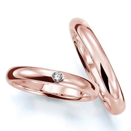 ペアリング(2本セット) 結婚指輪 マリッジリング 結婚記念 K18ピンクゴールド 《Prime M0016》 ダイヤモンドリング ギフト 【刻印無料 ケース付き 送料無料】 【B】
