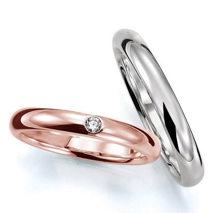 ペアリング(2本セット) 結婚指輪 マリッジリング 結婚記念 プラチナ900&K18ピンクゴールド 《Prime M0016》 ダイヤモンドリング ギフト 【刻印無料 ケース付き 送料無料】 【A】