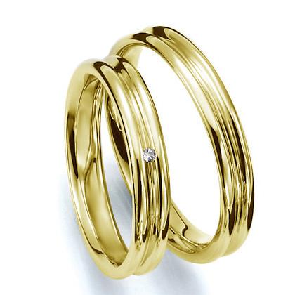 ペアリング(2本セット) 結婚指輪 マリッジリング 結婚記念 K18イエローゴールド 《Prime M0035》 ダイヤモンドリング ギフト 【刻印無料 ケース付き 送料無料】 【A】