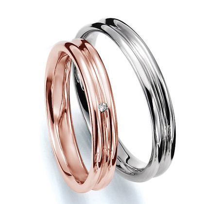 ペアリング(2本セット) 結婚指輪 マリッジリング 結婚記念 プラチナ900&K18ピンクゴールド 《Prime M0035》 ダイヤモンドリング ギフト 【刻印無料 ケース付き 送料無料】 【A】