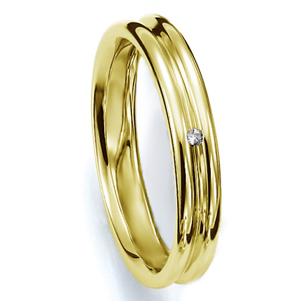 ペアリング(女性用) 結婚指輪 マリッジリング 結婚記念 K18イエローゴールド ダイヤモンドリング 《Prime M0035L》 【刻印無料 ケース付き 送料無料】 【A】