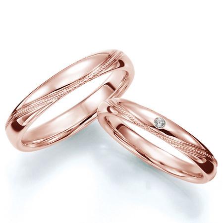 ペアリング(2本セット) 結婚指輪 マリッジリング 結婚記念 K18ピンクゴールド ミル打ち加工 《Prime M0712》 ダイヤモンドリング ギフト 【刻印無料 ケース付き 送料無料】 【A】