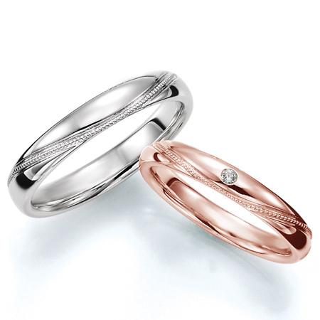 ペアリング(2本セット) 結婚指輪 マリッジリング プラチナ900&K18ピンクゴールド ミル打ち加工 《Prime M0712》 ダイヤモンドリング ギフト 【刻印無料 ケース付き 送料無料】 【A】
