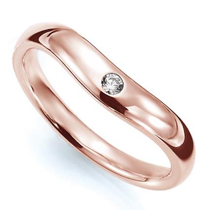 ペアリング(女性用) 結婚指輪 マリッジリング 結婚記念 K18ピンクゴールド ダイヤモンドリング 《Prime M0033L》 【刻印無料 ケース付き 送料無料】 【B】