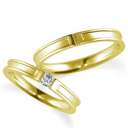 ペアリング(2本セット) 結婚指輪 婚約指輪 マリッジリング K18イエローゴールド ダイヤモンドリング 0.1ct 《Proud M1004》 【刻印無料 ケース付き 送料無料】 【B】