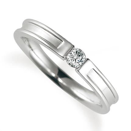 ペアリング(女性用) 結婚指輪 婚約指輪 マリッジリング プラチナ900 ダイヤモンドリング 0.1ct 《Proud M1004L》 【刻印無料 ケース付き 送料無料】 【0420】