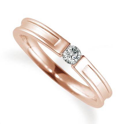 ペアリング(女性用) 結婚指輪 婚約指輪 マリッジリング K18ピンクゴールド ダイヤモンドリング 0.1ct 《Proud M1004L》 【刻印無料 ケース付き 送料無料】 【A】