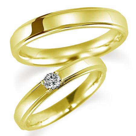 ペアリング(2本セット) 結婚指輪 婚約指輪 マリッジリング K18イエローゴールド ダイヤモンドリング 0.1ct 《Proud M1037》 【刻印無料 ケース付き 送料無料】 【B】