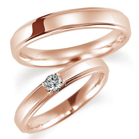 ペアリング(2本セット) 結婚指輪 婚約指輪 マリッジリング K18ピンクゴールド ダイヤモンドリング 0.1ct 《Proud M1037》 【刻印無料 ケース付き 送料無料】 【A】