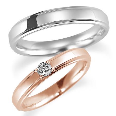 新しい季節 ペアリング(2本セット) 結婚指輪 婚約指輪 マリッジリング プラチナ900&K18ピンクゴールド ダイヤモンドリング 0.1ct 《Proud M1037》 【刻印無料 ケース付き 送料無料】【RCP】, チューボーマニア 056e8b5f