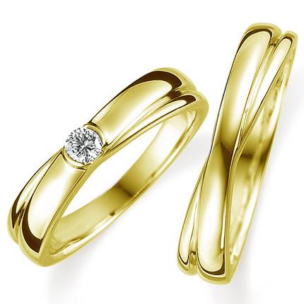 ペアリング(2本セット) 結婚指輪 婚約指輪 マリッジリング K18イエローゴールド ダイヤモンドリング 0.1ct 《Proud M1008》 【刻印無料 ケース付き 送料無料】 【A】