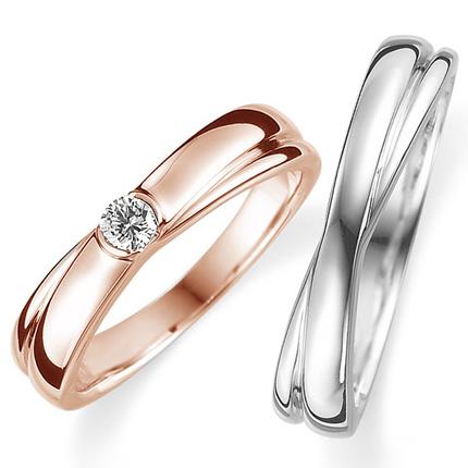 ペアリング(2本セット) 結婚指輪 婚約指輪 マリッジリング プラチナ900&K18ピンクゴールド ダイヤモンドリング 0.1ct 《Proud M1008》 【刻印無料 ケース付き 送料無料】 【A】