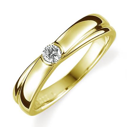 ペアリング(女性用) 結婚指輪 婚約指輪 マリッジリング K18イエローゴールド ダイヤモンドリング 0.1ct 《Proud M1008L》 【刻印無料 ケース付き 送料無料】 【A】