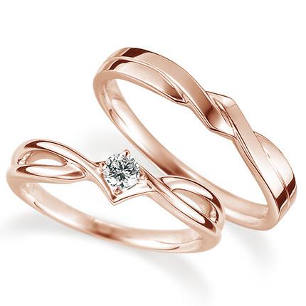 ペアリング(2本セット) 結婚指輪 婚約指輪 マリッジリング K18ピンクゴールド ダイヤモンドリング 0.1ct 《Proud M1035》 【刻印無料 ケース付き 送料無料】 【A】