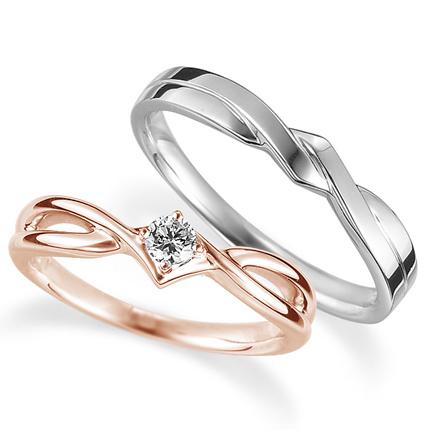 ペアリング(2本セット) 結婚指輪 婚約指輪 マリッジリング プラチナ900&K18ピンクゴールド ダイヤモンドリング 0.1ct 《Proud M1035》 【刻印無料 ケース付き 送料無料】 【B】