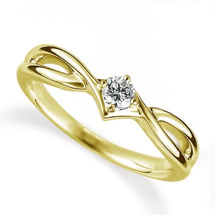 ペアリング(女性用) 結婚指輪 婚約指輪 マリッジリング K18イエローゴールド ダイヤモンドリング 0.1ct 《Proud M1035L》 【刻印無料 ケース付き 送料無料】 【B】