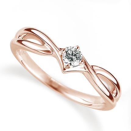 ペアリング(女性用) 結婚指輪 婚約指輪 マリッジリング K18ピンクゴールド ダイヤモンドリング 0.1ct 《Proud M1035L》 【刻印無料 ケース付き 送料無料】 【0420】