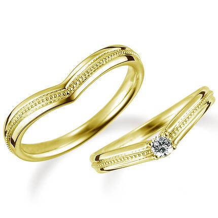 ペアリング(2本セット) 結婚指輪 婚約指輪 マリッジリング K18イエローゴールド ダイヤモンドリング 0.1ct 《Proud M1036》 【刻印無料 ケース付き 送料無料】 【A】