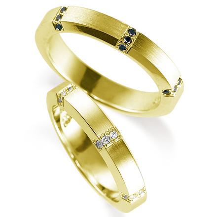ペアリング(2本セット) 結婚指輪 マリッジリング 鍛造製法 K18イエローゴールド ダイヤモンドリング 《Solid M0925WR》 【刻印無料 ケース付き 送料無料】 【A】