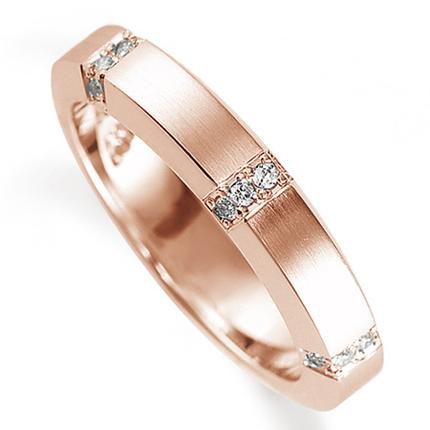 ペアリング(女性用) 結婚指輪 マリッジリング 鍛造製法 K18ピンクゴールド ダイヤモンドリング 《Solid M0925L》 【刻印無料 ケース付き 送料無料】 【A】