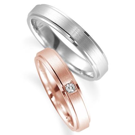 ペアリング(2本セット) 結婚指輪 マリッジリング 鍛造製法 K18ピンクゴールド&プラチナ900 ダイヤモンドリング 《Solid M0590WR》 【刻印無料 ケース付き 送料無料】 【0420】