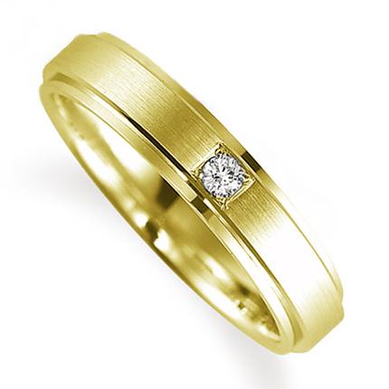 ペアリング(女性用) 結婚指輪 マリッジリング 鍛造製法 K18イエローゴールド ダイヤモンドリング 《Solid M0590L》 【刻印無料 ケース付き 送料無料】 【A】
