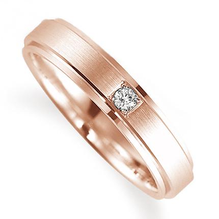 ペアリング(女性用) 結婚指輪 マリッジリング 鍛造製法 K18ピンクゴールド ダイヤモンドリング 《Solid M0590L》 【刻印無料 ケース付き 送料無料】 【B】