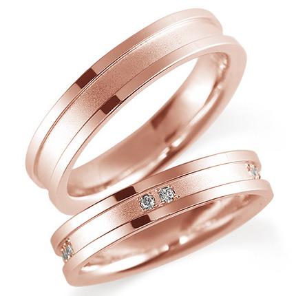 ペアリング(2本セット) 結婚指輪 マリッジリング 鍛造製法 K18ピンクゴールド ダイヤモンドリング 《Solid M0820WR》 【刻印無料 ケース付き 送料無料】 【A】