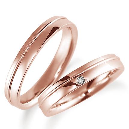 ペアリング(2本セット) 結婚指輪 マリッジリング 鍛造製法 K18ピンクゴールド ダイヤモンドリング 《Solid M0886WR》 【刻印無料 ケース付き 送料無料】 【A】