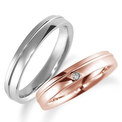 ペアリング(2本セット) 結婚指輪 マリッジリング 鍛造製法 K18ピンクゴールド&プラチナ900 ダイヤモンドリング 《Solid M0886WR》 【刻印無料 ケース付き 送料無料】 【A】