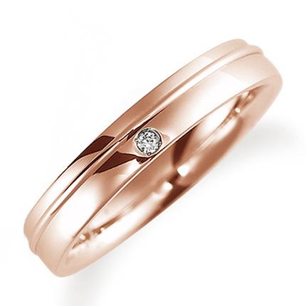 ペアリング(女性用) 結婚指輪 マリッジリング 鍛造製法 K18ピンクゴールド ダイヤモンドリング 《Solid M0886L》 【刻印無料 ケース付き 送料無料】 【0420】