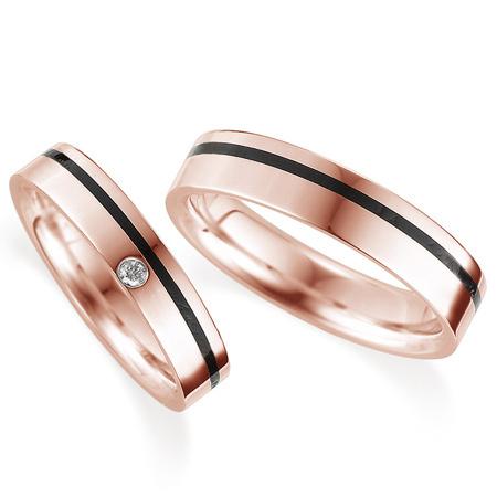 ペアリング(2本セット) 結婚指輪 マリッジリング 鍛造製法 K18ピンクゴールド ダイヤモンドリング 《Solid M0081WR》 【刻印無料 ケース付き 送料無料】 【A】