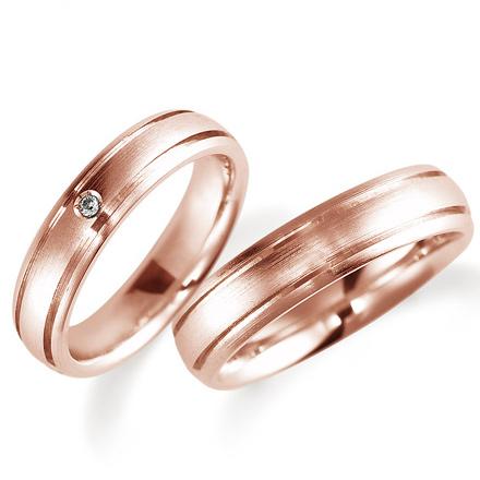ペアリング(2本セット) 結婚指輪 マリッジリング 鍛造製法 K18ピンクゴールド ダイヤモンドリング 《Solid M0898WR》 【刻印無料 ケース付き 送料無料】 【A】