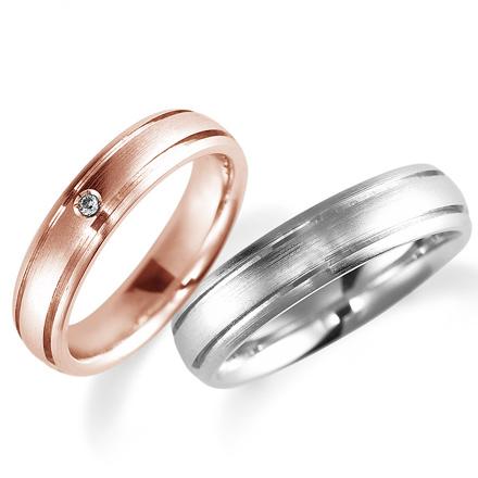 ペアリング(2本セット) 結婚指輪 マリッジリング 鍛造製法 K18ピンクゴールド&プラチナ900 ダイヤモンドリング 《Solid M0898WR》 【刻印無料 ケース付き 送料無料】 【A】