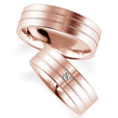 ペアリング(2本セット) 結婚指輪 マリッジリング 鍛造製法 K18ピンクゴールド ダイヤモンドリング 《Solid M0592WR》 【刻印無料 ケース付き 送料無料】 【A】